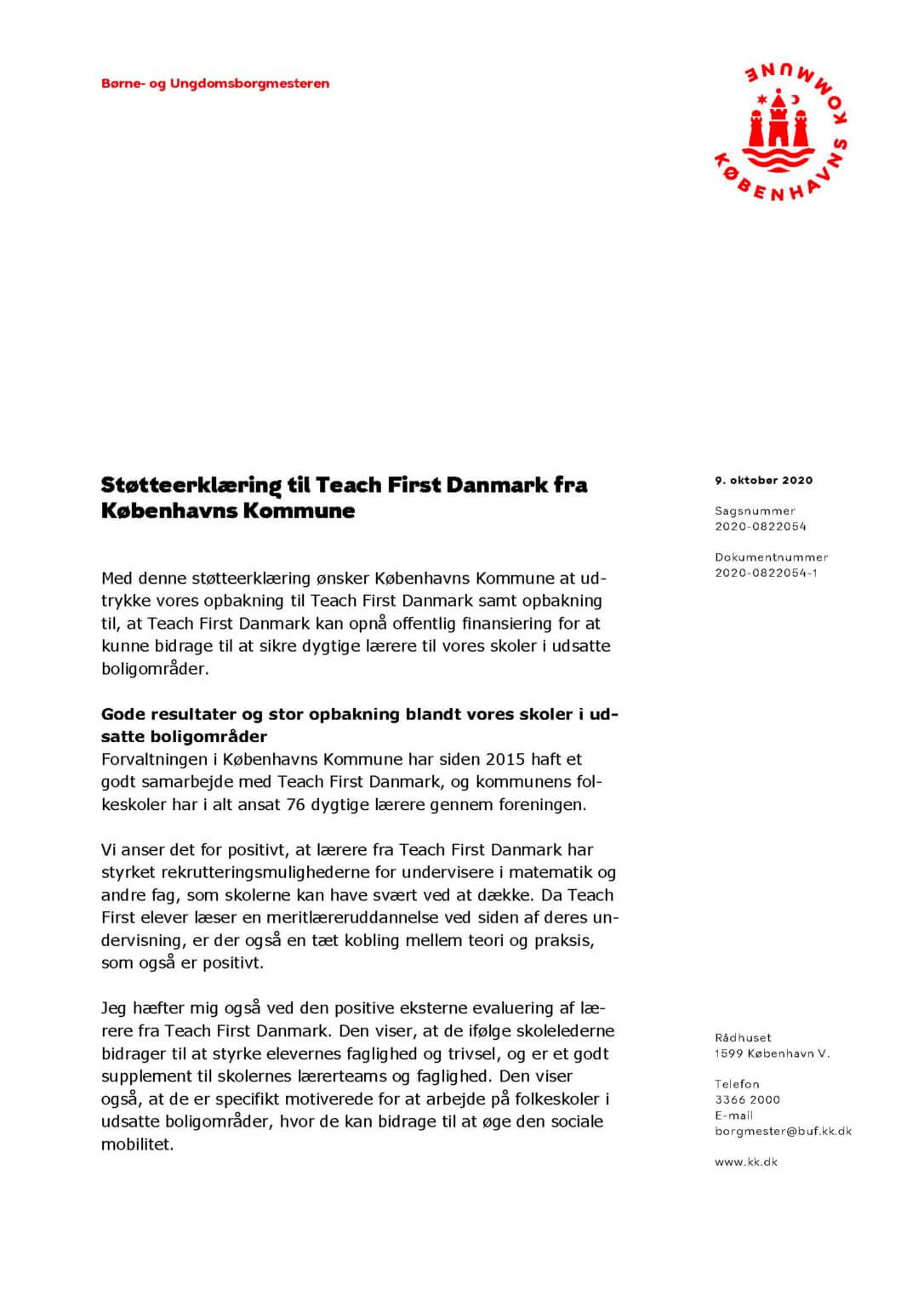 Københavns Kommune støtteerklæring til Teach First Danmark (side 1/2)