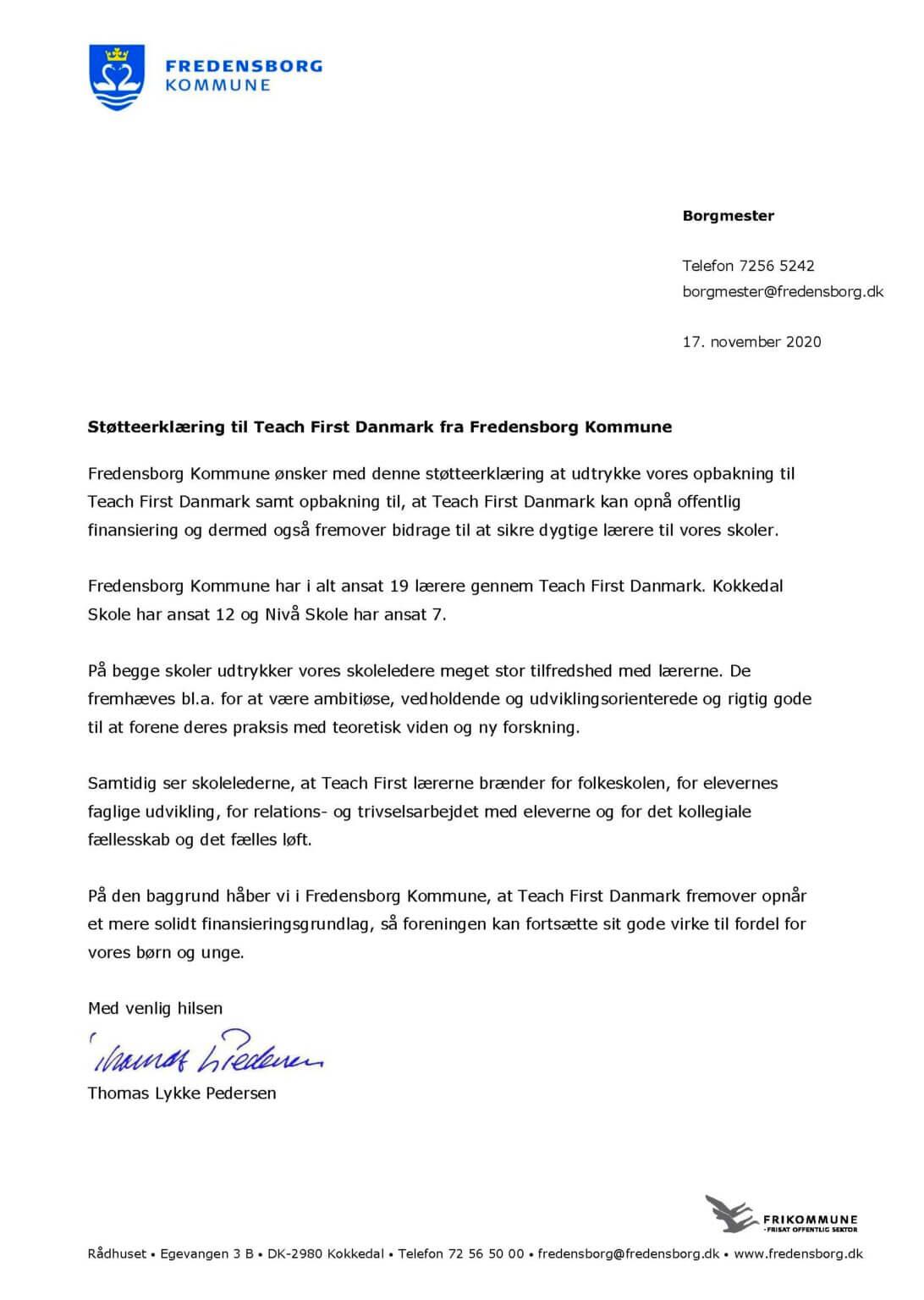 Fredensborg Kommune støtteerklæring til Teach First Danmark