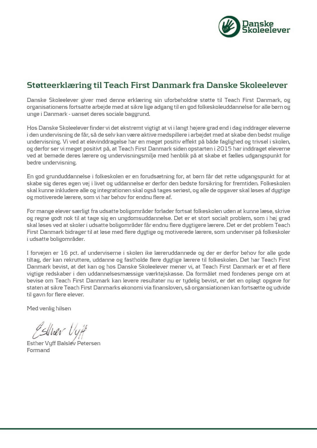 Danske Skoleelever støtteerklæring til Teach First Danmark